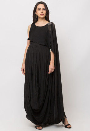Embroidered Lycra Cowl Style Gown in Black