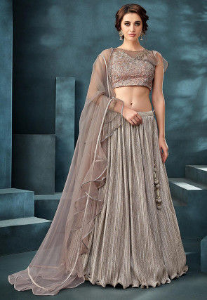 Embroidered Lycra Crushed Lehenga in Silver