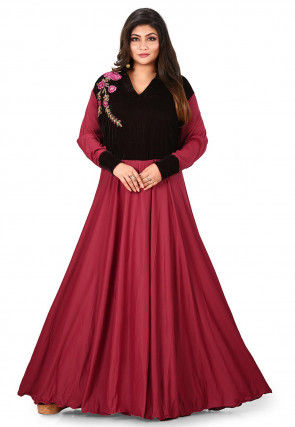Embroidered Lycra Flared Gown in Maroon and Dark Brown