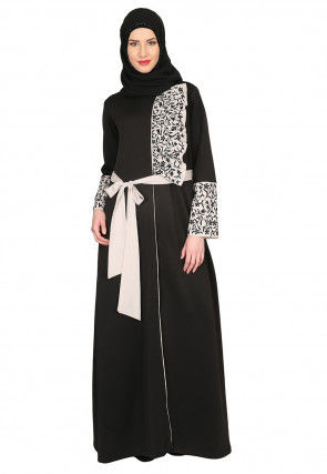 Embroidered Lycra Front Tie Up Abaya in Charcoal