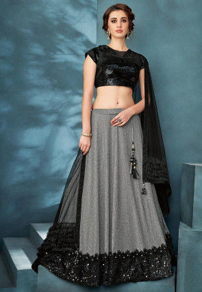 Embroidered Lycra Lehenga in Grey