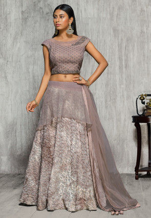 Embroidered Lycra Net Lehenga in Light Fawn