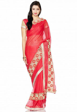 Embroidered Lycra Net Saree in Coral Red