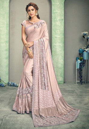 Embroidered Lycra Saree in Baby Pink