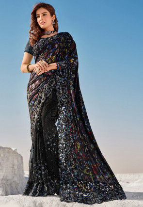 Embroidered Lycra Saree in Black and Blue