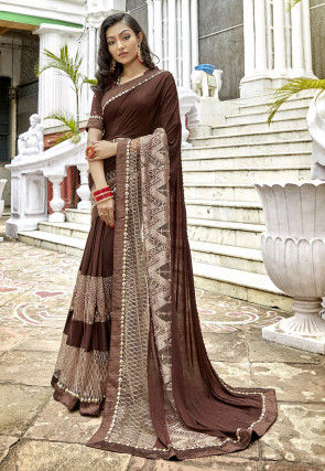Embroidered Lycra Saree in Dark Brown