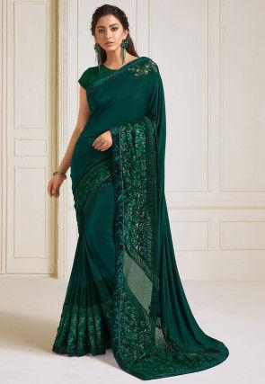 Embroidered Lycra Saree in Dark Teal Green