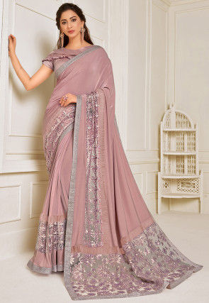 Embroidered Lycra Saree in Dusty Pink
