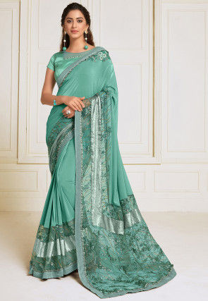 Embroidered Lycra Saree in Light Teal Green