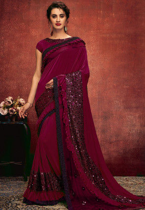 Embroidered Lycra Saree in Maroon