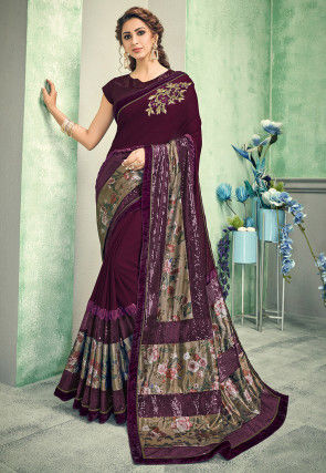 Embroidered Lycra Saree in Wine