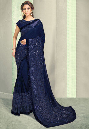 Embroidered Lycra Saree in Navy Blue