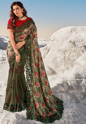 Embroidered Lycra Saree in Olive Green
