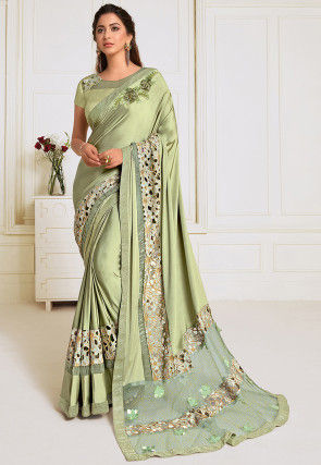 Embroidered Lycra Saree in Pastel Green