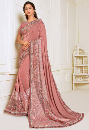 Embroidered Lycra Saree in Peach