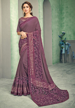Embroidered Lycra Saree in Purple