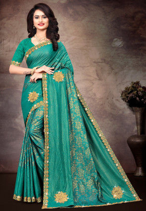 Embroidered Lycra Saree in Teal Blue