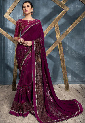 Embroidered Lycra Saree in Violet