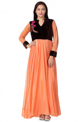 Embroidered Lycra Shimmer Gown in Peach and Black