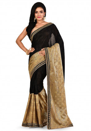 Embroidered Lycra Shimmer Saree in Black and Beige