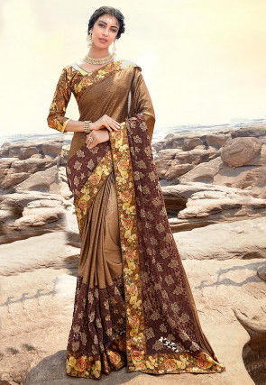 Embroidered Lycra Shimmer Saree in Brown
