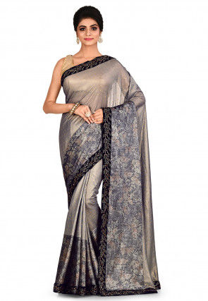 Embroidered Lycra Shimmer Saree in Grey