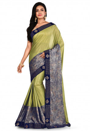 Embroidered Lycra Shimmer Saree in Light Green