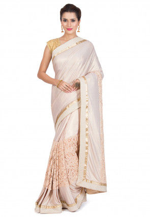 Embroidered Lycra Shimmer Saree in Off White