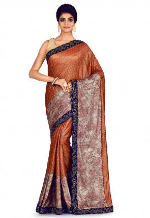 Embroidered Lycra Shimmer Saree in Rust