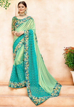 Embroidered Lycra Shimmer Saree in Sea Green