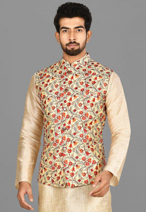 Embroidered Matka Silk Nehru Jacket in Beige