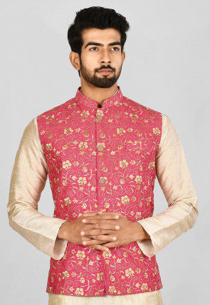 Embroidered Matka Silk Nehru Jacket in Coral Pink