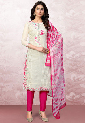 Embroidered Modal Cotton Pakistani Suit in Off White