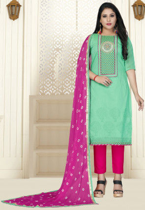 Embroidered Modal Cotton Pakistani Suit in Sea Green