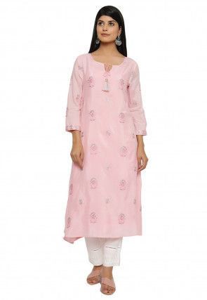 Embroidered Modal Satin A Line Kurta in Light Pink