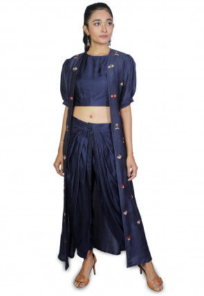 Embroidered Modal Satin Crop Top With Dhoti Pant in Navy Blue