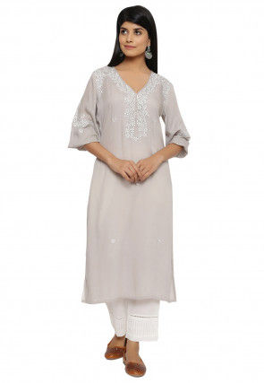 Embroidered Modal Satin Straight Kurta in Grey