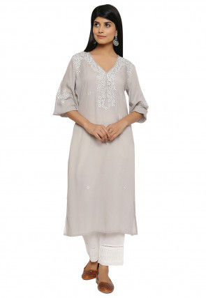Embroidered Modal Satin Straight Kurta in Light Grey