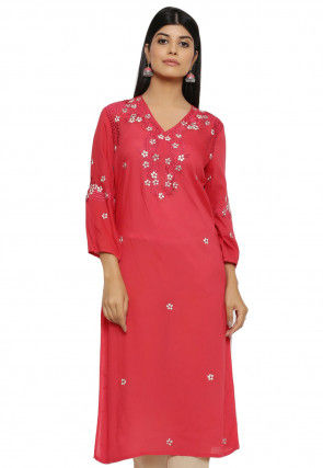 Embroidered Modal Satin Straight Kurta in Red