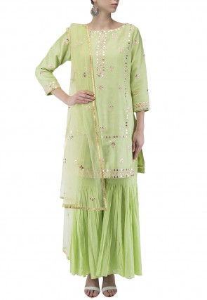 Embroidered Modal Silk Pakistani Suit in Light Green