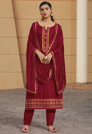 Embroidered Modal Silk Pakistani Suit in Maroon