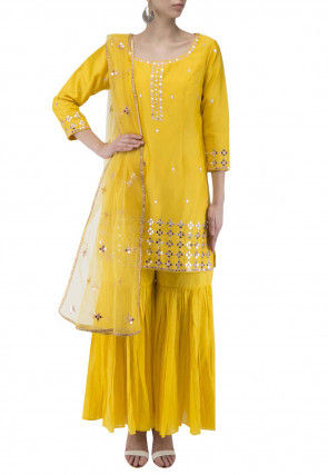 Embroidered Modal Silk Pakistani Suit in Mustard