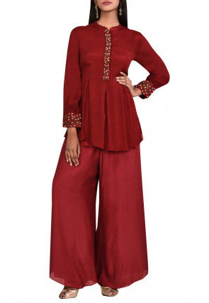 Embroidered Modal Silk Pleated Kurti Set in Maroon