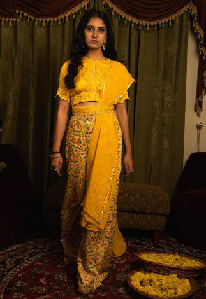 Embroidered Modal Silk Top with Palazzo in Mustard