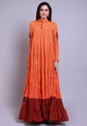 Embroidered Mulmul Cotton Tiered Long Kurta Set in Orange