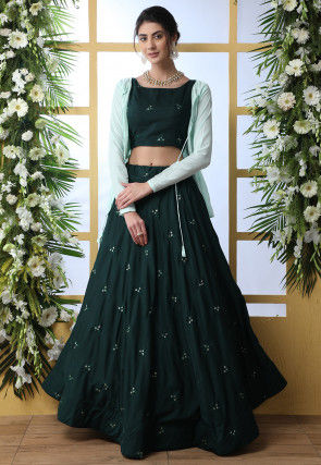 Embroidered Muslin Cotton Crop Top with Skirt in Dark Green