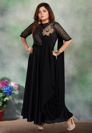 Embroidered Muslin Cotton Gown in Black