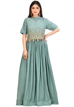 Embroidered Muslin Cotton Gown in Dusty Teal Green