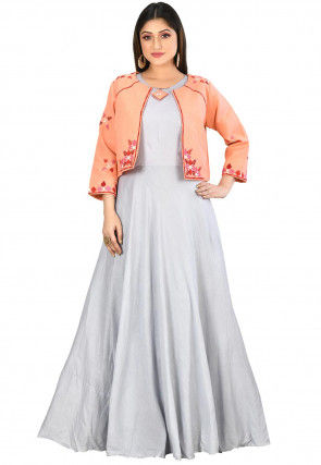 Embroidered Muslin Cotton Jacket Style Gown in Grey and Orange
