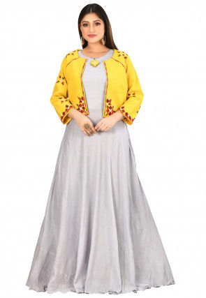 Embroidered Muslin Cotton Jacket Style Gown in Grey and Yellow